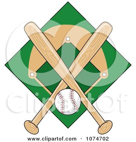 Clipart Baseball Bat Field And Ball Logo 1 Royalty Free Vector Illustration