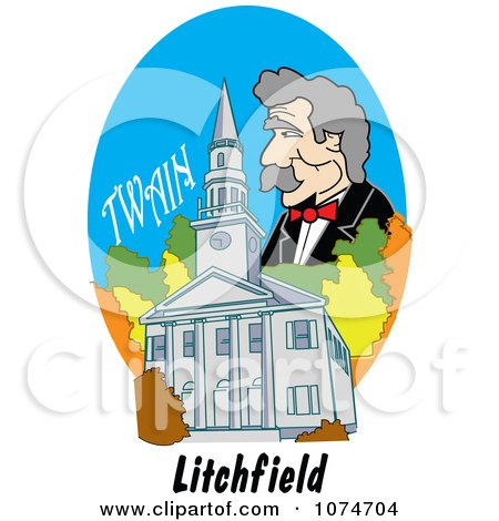 Clipart Mark Twain Over The First Congregational Church In Litchfield Connecticut - Royalty Free Vector Illustration by Andy Nortnik