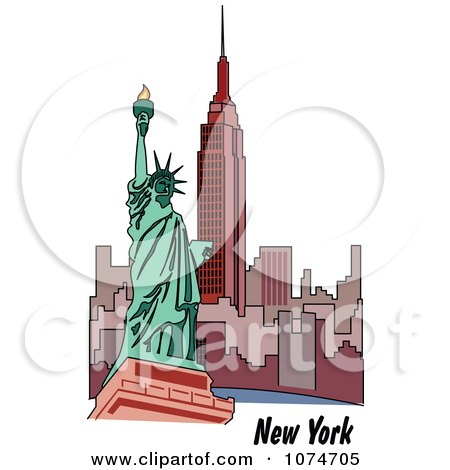 Clipart The Statue Of Liberty And Skyscrapers In New York - Royalty Free Vector Illustration by Andy Nortnik