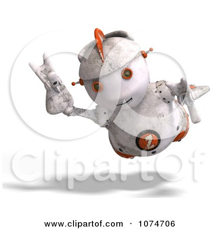 Clipart 3d Distressed White Robot Flying 1 - Royalty Free CGI Illustration by Ralf61