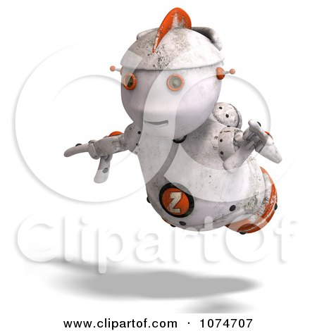 Clipart 3d Distressed White Robot Flying 2 - Royalty Free CGI Illustration by Ralf61