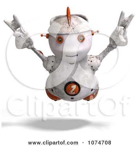Clipart 3d Distressed White Robot Flying 3 - Royalty Free CGI Illustration by Ralf61