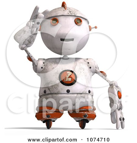 Clipart 3d Distressed White Robot Shielding His Eyes 1 - Royalty Free CGI Illustration by Ralf61