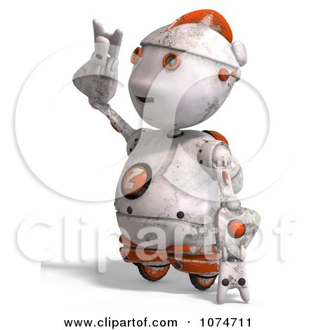 Clipart 3d Distressed White Robot Shielding His Eyes 2 - Royalty Free CGI Illustration by Ralf61