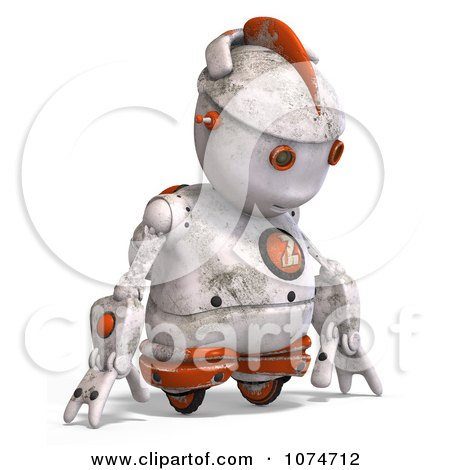 Clipart 3d Sad Distressed White Robot - Royalty Free CGI Illustration by Ralf61