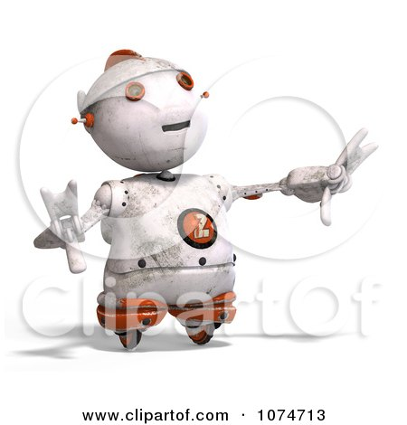 Clipart 3d Distressed White Robot Reaching 1 - Royalty Free CGI Illustration by Ralf61