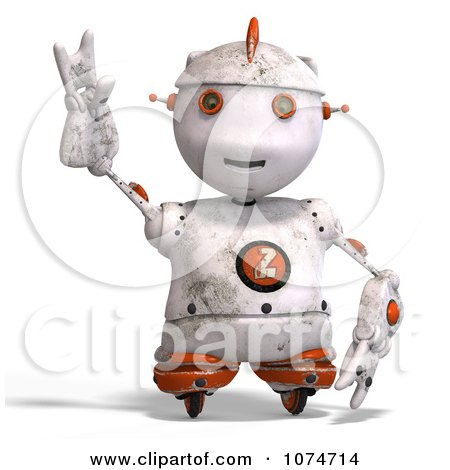 Clipart 3d Distressed White Robot Reaching 2 - Royalty Free CGI Illustration by Ralf61