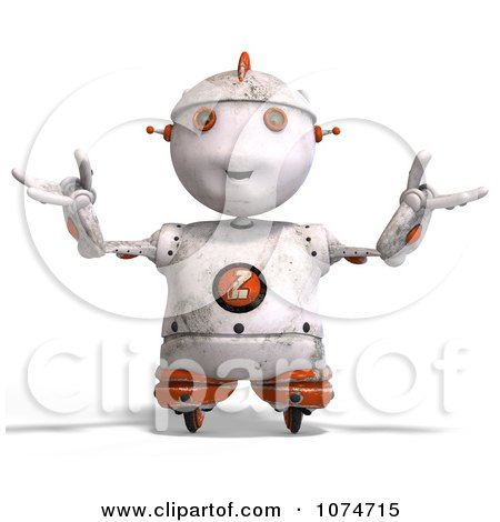 Clipart 3d Distressed White Robot Shrugging - Royalty Free CGI Illustration by Ralf61