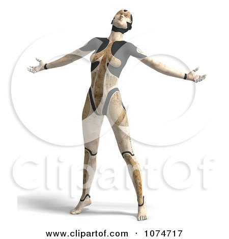 Clipart 3d Tan Cyborg Woman Leaning Back - Royalty Free CGI Illustration by Ralf61