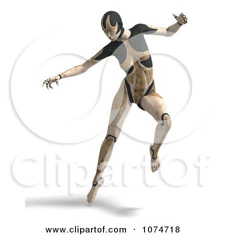 Clipart 3d Tan Cyborg Woman Jumping - Royalty Free CGI Illustration by Ralf61