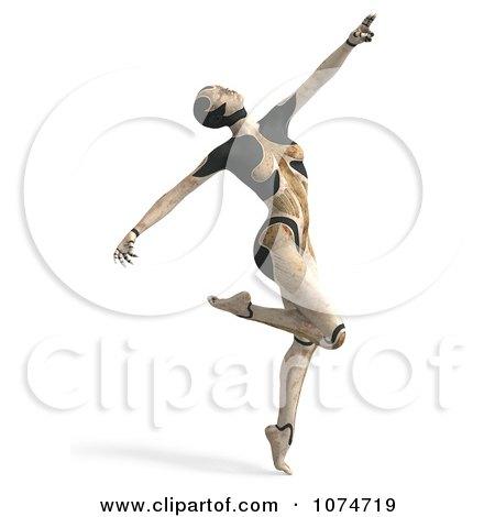 Clipart 3d Tan Cyborg Woman Dancing - Royalty Free CGI Illustration by Ralf61
