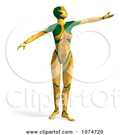 Clipart 3d Yellow Cyborg Woman Dancing - Royalty Free CGI Illustration by Ralf61