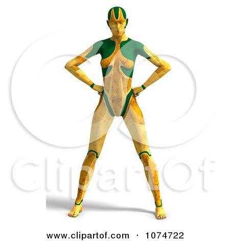 Clipart 3d Yellow Cyborg Woman - Royalty Free CGI Illustration by Ralf61