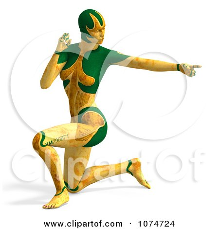Clipart 3d Yellow Cyborg Woman Pointing And Kneeling - Royalty Free CGI Illustration by Ralf61