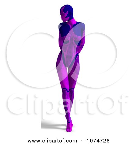 Clipart 3d Purple Cyborg Woman - Royalty Free CGI Illustration by Ralf61