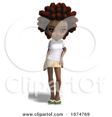 3d Black School Girl With An Afro Posters, Art Prints