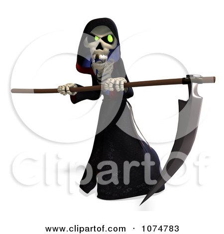 Clipart 3d Halloween Grim Reaper And Scythe 5 - Royalty Free CGI Illustration by Ralf61