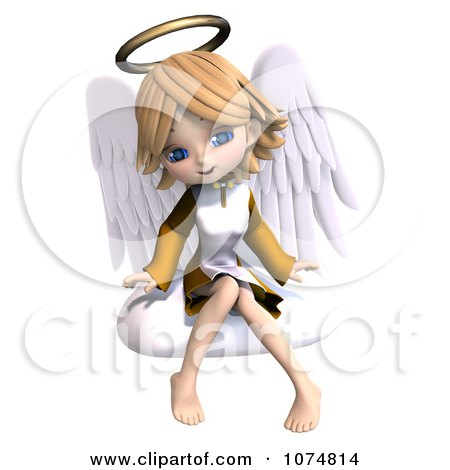 Clipart 3d Cute Angel Girl Sitting On A Cloud 4 - Royalty Free CGI Illustration by Ralf61