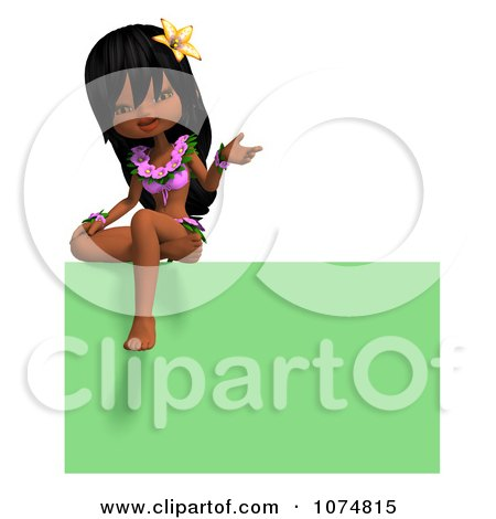 Clipart 3d Hula Dancer Girl Sitting On A Green Sign - Royalty Free CGI Illustration by Ralf61
