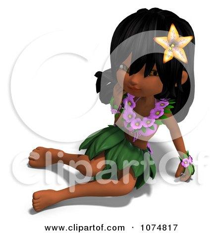 Clipart 3d Hula Dancer Girl Sitting - Royalty Free CGI Illustration by Ralf61