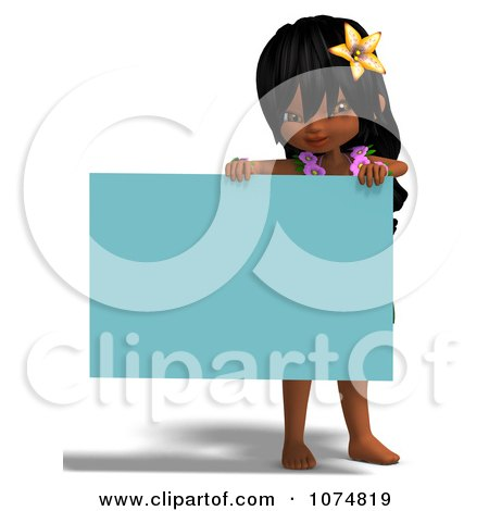 Clipart 3d Hula Dancer Girl Holding A Blue Sign - Royalty Free CGI Illustration by Ralf61
