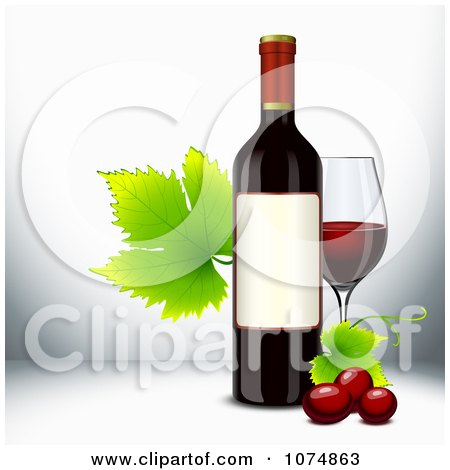 Clipart 3d Red Wine Bottle With Grapevine Leaves And A Glass - Royalty Free Vector Illustration by Oligo