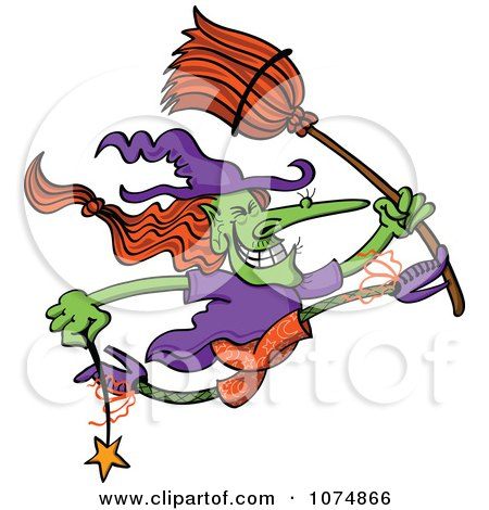 Clipart Wicked Halloween Witch Jumping With A Wand And Broom - Royalty Free Vector Illustration by Zooco