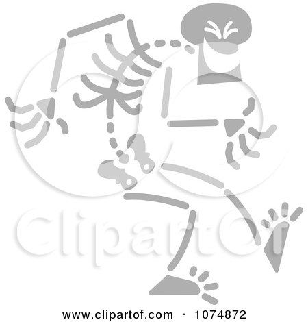 Clipart Gray Skeleton Being Sneaky - Royalty Free Vector Illustration by Zooco