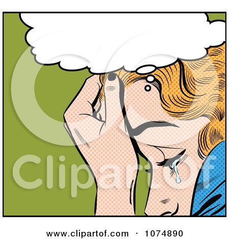 Clipart Retro Pop Art Blond Woman Crying Under A Thought Balloon - Royalty Free Vector Illustration by brushingup