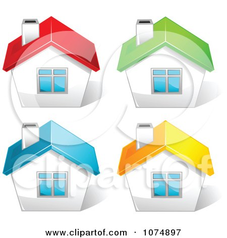 Clipart 3d Houses With Red Green Blue And Yellow Roof Tops - Royalty Free Vector Illustration by Pushkin