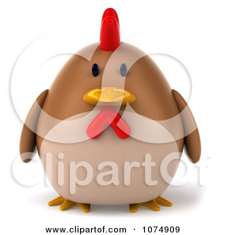 Clipart 3d Chubby Brown Chicken - Royalty Free CGI Illustration by Julos