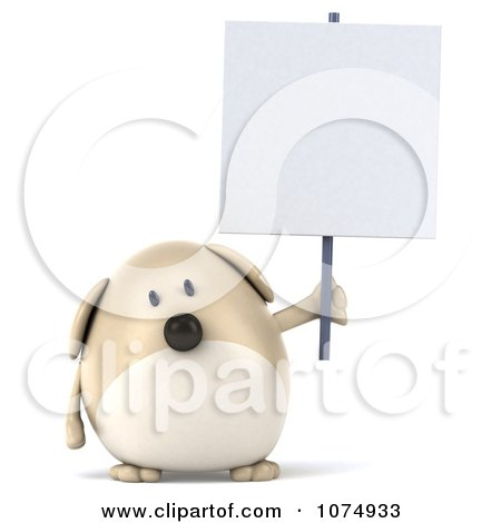 Clipart 3d Chubby Tan Dog Holding A Sign 2 - Royalty Free CGI Illustration by Julos