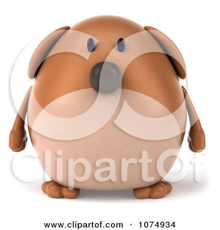 Clipart 3d Chubby Brown Dog - Royalty Free CGI Illustration by Julos