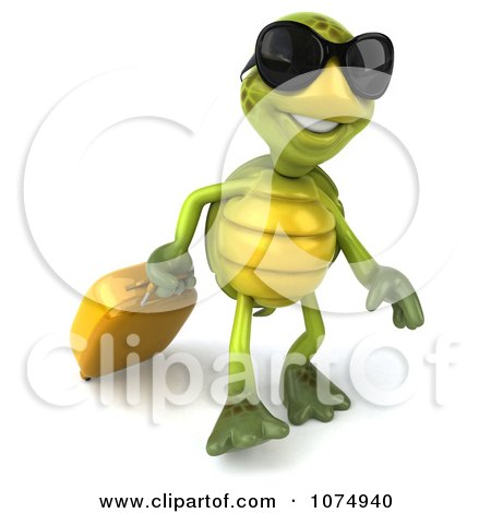 Clipart 3d Traveling Chuck Tortoise Pulling A Suitcase 2 - Royalty Free CGI Illustration by Julos