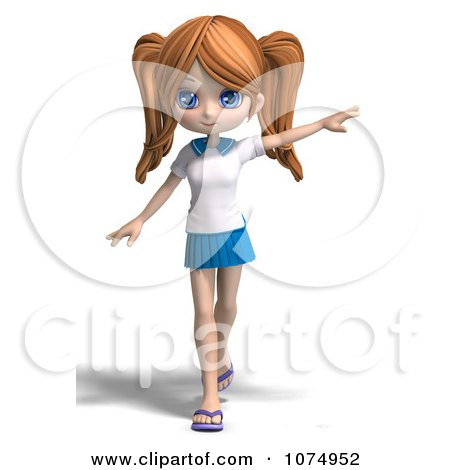 Clipart 3d Teenage Private School Girl Pointing - Royalty Free CGI Illustration by Ralf61
