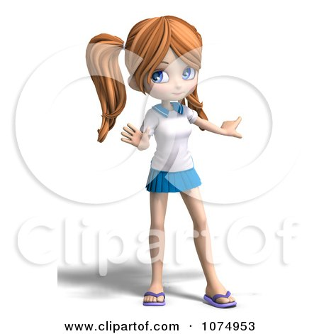 Clipart 3d Teenage Private School Girl Gesturing - Royalty Free CGI Illustration by Ralf61