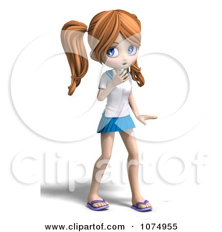 Clipart 3d Surprised Teenage Private School Girl - Royalty Free CGI Illustration by Ralf61