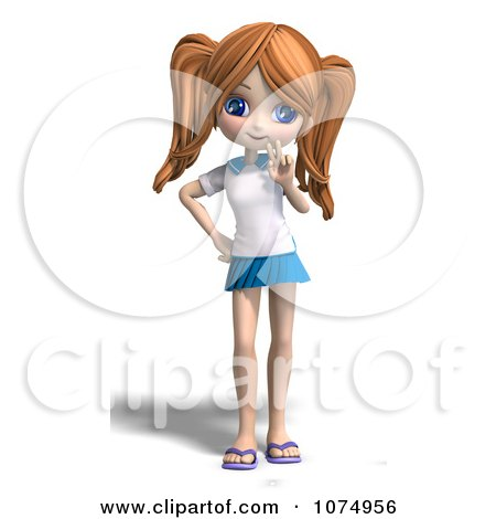 Clipart 3d Teenage Private School Girl Gesturing Peace - Royalty Free CGI Illustration by Ralf61