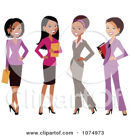Clipart Group Of Professional Multi Ethnic Businesswomen - Royalty Free Vector Illustration by Monica