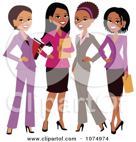 Clipart Four Professional Multi Ethnic Businesswomen - Royalty Free Vector Illustration by Monica