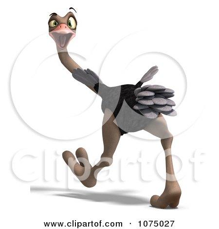 Clipart 3d Wild Ostrich Bird Walking 1 - Royalty Free CGI Illustration by Ralf61