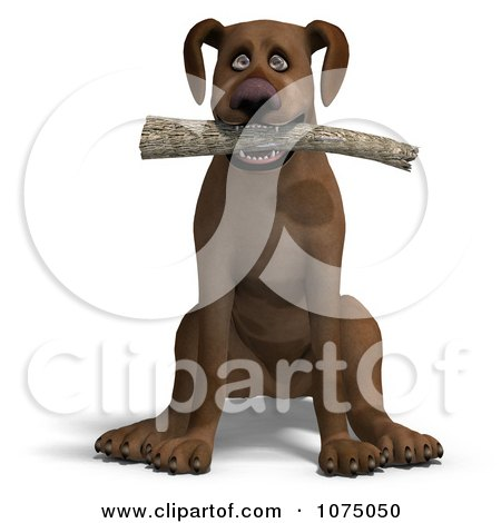 Clipart 3d Brown Dog Sitting With A Fetching Stick - Royalty Free CGI Illustration by Ralf61