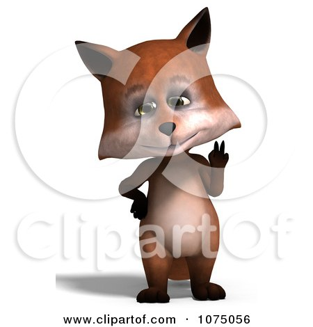 Clipart 3d Cute Peace Fox Standing Upright Royalty Free CGI Illustration