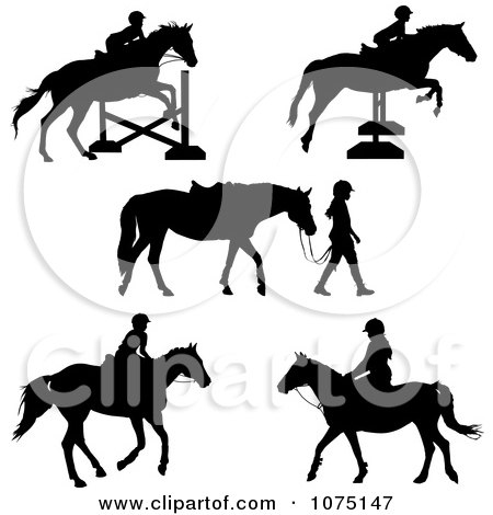 Clipart Silhouetted Horses And Equestrian Girls - Royalty Free Vector Illustration by Maria Bell