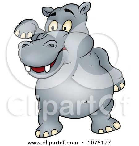 Clipart Happy Gray Hippo Standing And Waving - Royalty Free Vector Illustration by dero