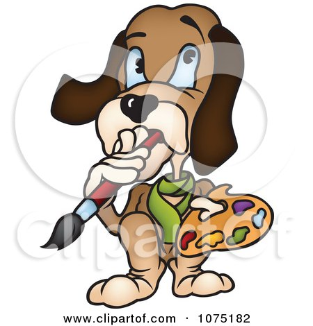 Clipart Dog Artist In Thought And Chewing On A Paintbrush - Royalty Free Vector Illustration by dero