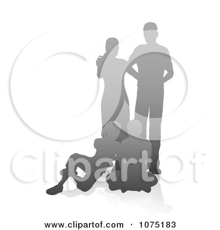Clipart Gray Gradient Silhouetted Family With The Parents Standing And Children Sitting - Royalty Free Vector Illustration by AtStockIllustration