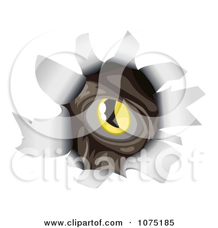 Clipart Monsters Eye Peeking Through A Ripped Hole - Royalty Free Vector Illustration by AtStockIllustration
