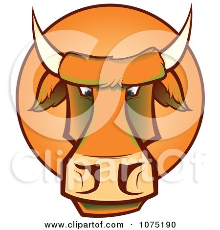 Clipart Mad Orange Bull Cow Face Logo - Royalty Free Vector Illustration by Paulo Resende