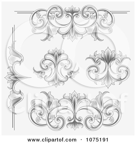 Clipart Ornate Etched Victorian Flourish Borders Rules And Design Elements - Royalty Free Vector Illustration by vectorace